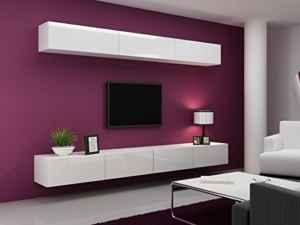 Wohnwand hängend und modern - Schwarz oder Weiß Hochglanz - Hier