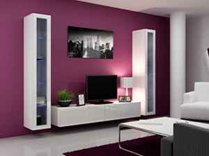 Wohnwand  Vigo 5 Hochglanz Hängeschrank Lowboard Cube  | Wohnzimmermöbel Hängend  | Wohnwand
