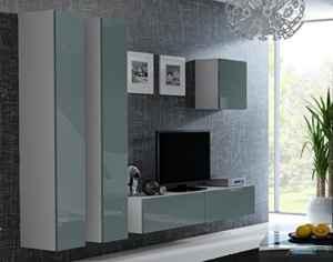 Wohnwand Vigo 24(2) Hochglanz Hängeschrank Lowboard Cube  | Schrankwand Hängend  | Wohnwand