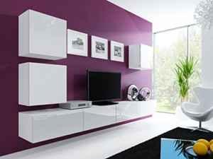 Wohnwand  Vigo 22  Hochglanz Hängeschrank Lowboard Cube  | Wohnwände Modern Hängend  | Wohnwand