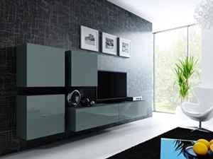 Wohnwand Vigo 23 Hochglanz Hängeschrank Lowboard Cube  | Wohnwände Hängend  | Wohnwand
