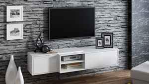 Tv Schrank SIGMA 1, TV Lowboard hängend  | Hängen oder Stand  | Lowboard Hochglanz Weiß Hängend  | Lowboard